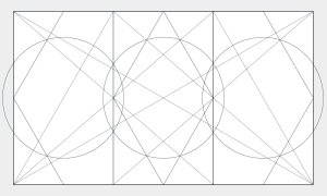 I began the design phase of the process by exploring various geometric division of my triptych's rectangle(s).